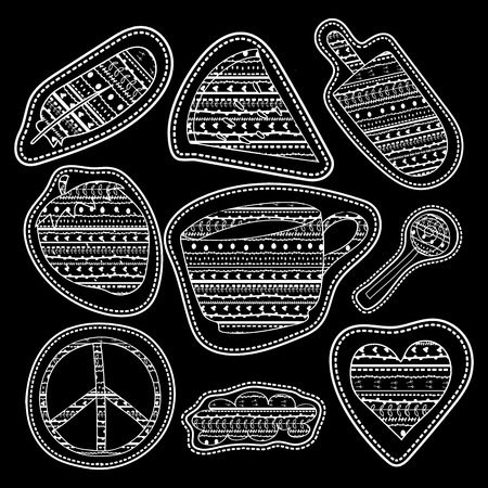 pacific: happy chalk board stickers and embroidery patches collection vintage style. Pin trendy label patch sticker coffee, feather, pacific sign, watermelon, strawberry, ice cream, lollipop candy, cloud, heart vector illustration decoration.