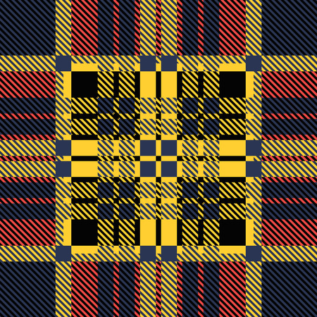 twill: Set of seamless British tartan pattern. Plaid brown, red and yellow palette tartan pattern. Repeated twill texture for web, print, fashion fabric, textile design, background for invitation card Vector