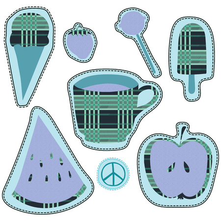 pacific: happy colorful stickers and embroidery patches collection vintage style. Pin trendy label patch sticker strawberry, coffee cup, pacific sign, ice cream, lollipop candy, apple, watermelon vector illustration decoration.