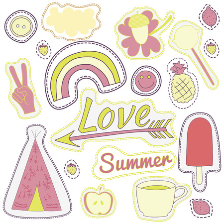 wigwam: hippie embroidery colorful summer patches collection. vector set illustration coffee, love, arrow, wigwam, rainbow, pineapple, smile, cloud, button for stickers, patches embroidery badges
