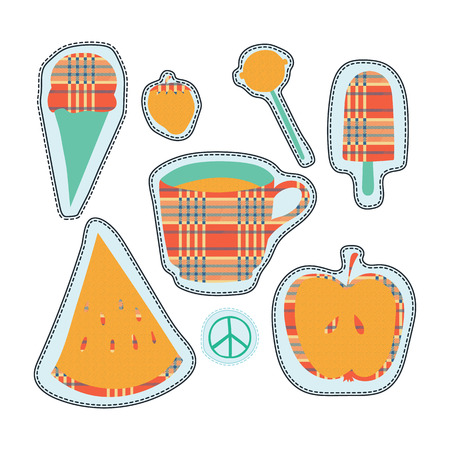 candy apple: happy colorful stickers and embroidery patches collection vintage style. Pin trendy label patch sticker strawberry, coffee cup, pacific sign, ice cream, lollipop candy, apple, watermelon vector illustration decoration.