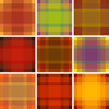 twill: Seamless British pattern background collection. Plaid autumn palette tartan pattern set. Repeated twill texture for fashion fabric, textile design, background for invitation card Vector.