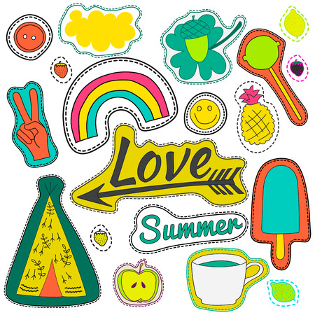 patches: hippie embroidery neon summer patches collection. vector set illustration coffee, love, arrow, wigwam, rainbow, pineapple, summer, cloud, button for stickers patches embroidery badges