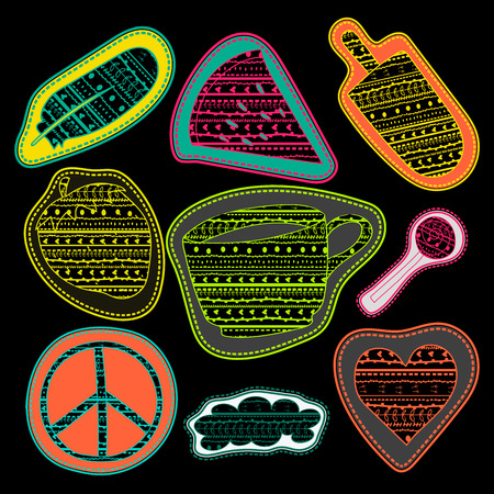 iron fun: happy chalk board stickers and embroidery patches collection vintage style. Pin trendy label patch sticker coffee, feather, pacific sign, watermelon, strawberry, ice cream, lollipop candy, cloud, heart vector illustration decoration.