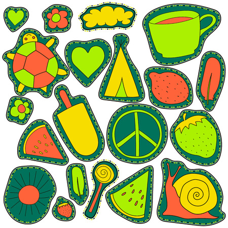 magnets: hippie embroidery neon palette summer patches collection. vector set illustration coffee cup, wigwam, sun, cloud, heart, ice cream, snail, turtle, watermelon, strawberry, feather, for stickers patches magnets greeting card decoration Illustration
