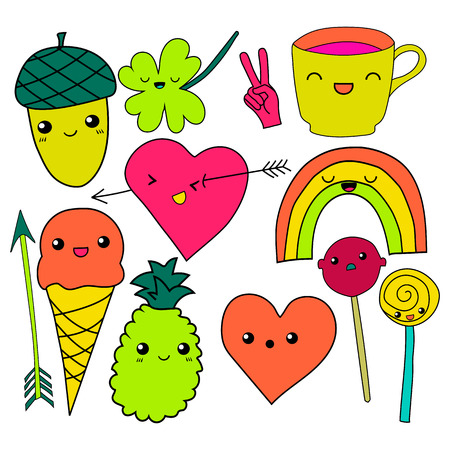 clover face: cute hand drawn neon doodle collection vector illustration coffee, arrow, ice cream, heart, rainbow, clover, love, acorn, lollipop candy pineapple isolated on white background for embroidery patches Illustration