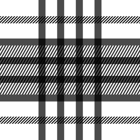 Seamless tartan pattern. repeated plaid twill tile texture. black and white palette vector illustration. Illustration
