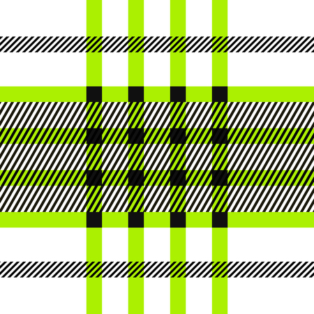 twill: Seamless tartan pattern. repeated plaid twill tile texture. green, black and white palette vector illustration.