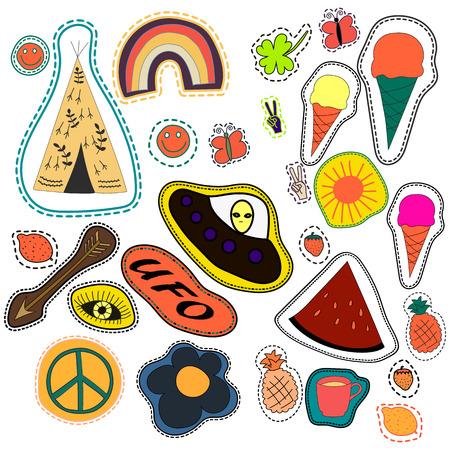 wigwam: hippie embroidery hand drawn patches collection. vector set illustration coffee, arrow, wigwam, rainbow, pineapple, watermelon, UFO sun eye ice cream Illustration