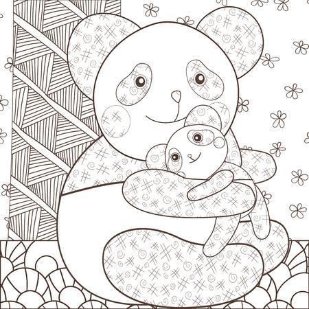 Kid Libro De Colorear Panda Linda Con El Bebé En árbol. Esquema ...