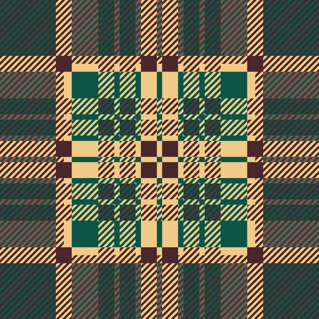 twill: Seamless tartan pattern. repeated plaid twill tile texture. green, brown palette vector illustration.