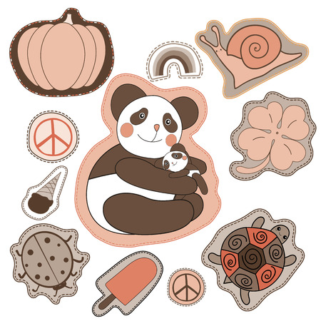 pacific: happy embroidery patches collection. vector set illustration with panda, clover, snail, turtle, pacific pumpkin ice cream rainbow ladybug