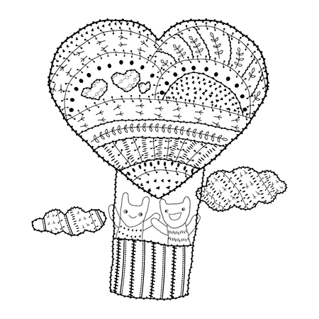 color pages: Adult coloring page Heart-shaped hot air balloon, two friends in the sky with clouds vector illustration for colouring book. Whimsical line art soft intricate pattern, black outline, white background.