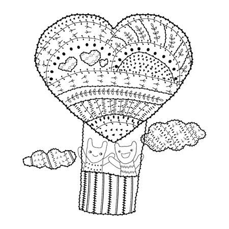 Herzförmiger Heißluftballon, Design Für Den Valentinstag. Design Für ...