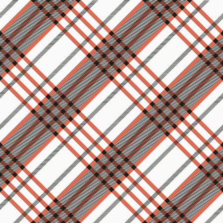 white tile: Seamless twill tartan pattern. Plaid black, red and white palette. Repeated tile texture for blanket, web, print, fashion fabric, textile design, invitation card background. Vector digital paper