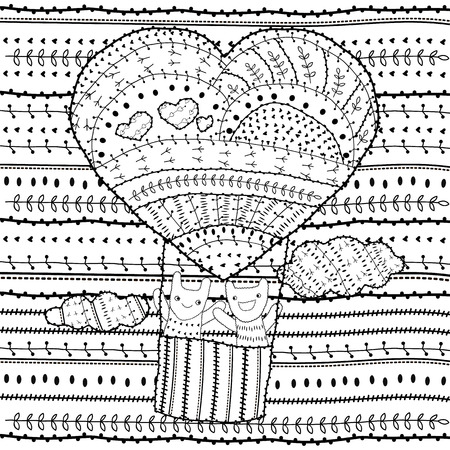 two friends: Adult coloring page Heart-shaped hot air balloon, two friends in the sky with clouds vector illustration for colouring book. Whimsical line art soft intricate pattern, black outline, white background.