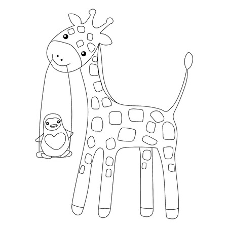 Coloring Page Little Cute Giraffe And His Friend Penguin Isolated ...