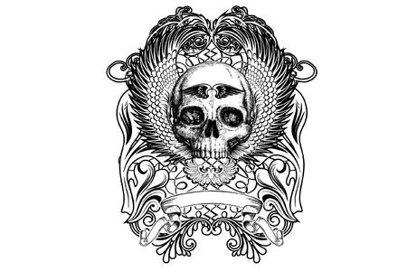 battle evil: Black Skull Tatoo illustration