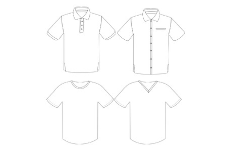 Set of man shirt outline vector in white background Ilustrace