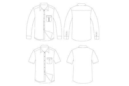 Outline Set of shirt vector Çizim