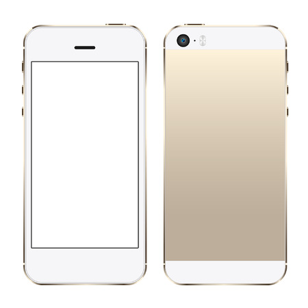 Smart mobile Phone with gold champagne color Isolated Illusztráció