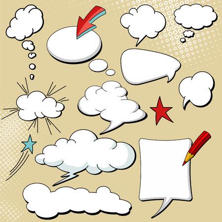 chat balloon: Set of Speech Bubble Element Vector