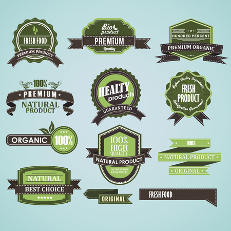 Set of natural organic label vector Vector