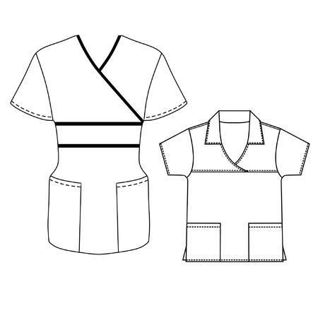 v neck: Spa and hotel uniform design vector