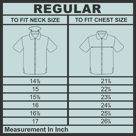 men shirt: Men shirt regular size diagram vector