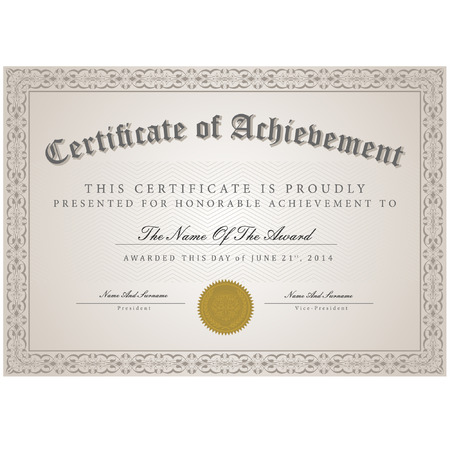 achieve: Certificate template vector