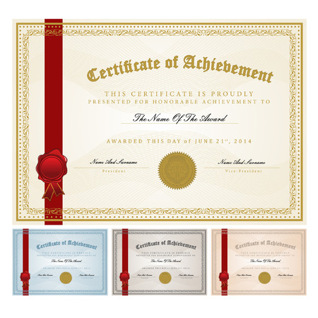 achievement clip art: Certificate template vector