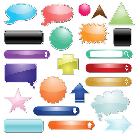 Set of glossy icon button for web vector Vector