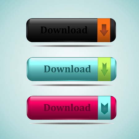 rectangle button: Download icon button for web Illustration