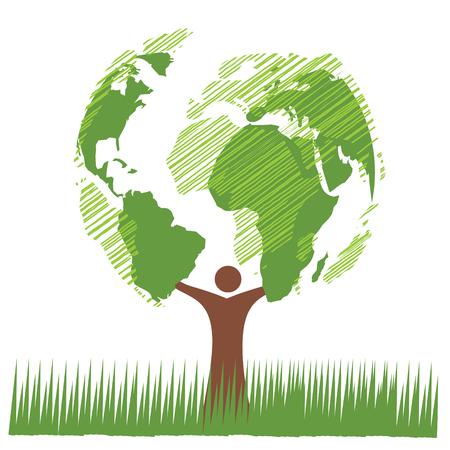 painting style: Green tree globe vector