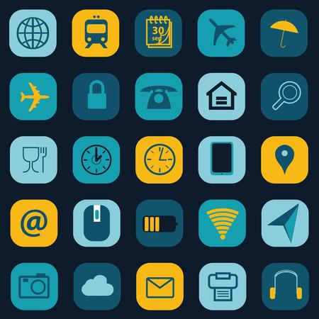 Business travel icons set Ilustração