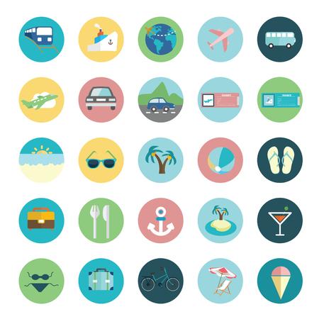 Travel icons set vector Ilustração
