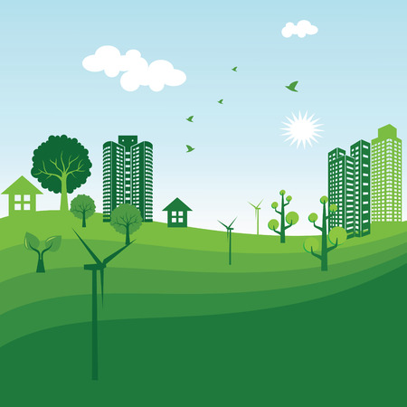 solarpower: Green city ecology illustration Illustration