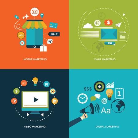 Flat design marketing business concept