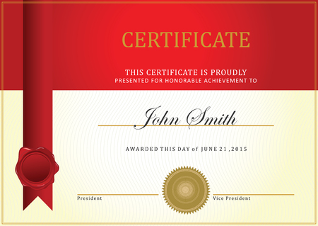 Certificate template vector, with ribbon vector