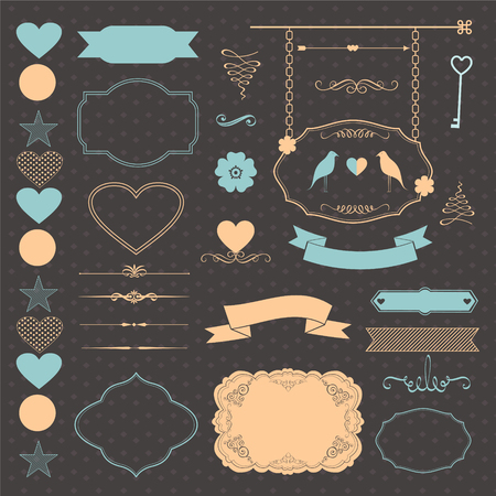 Set of wedding elements with frames, ribbons, banner, birds