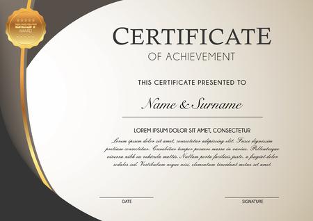Certificate template with golden badges Ilustração
