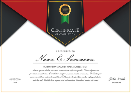 Certificate template vector with badges ribbon element