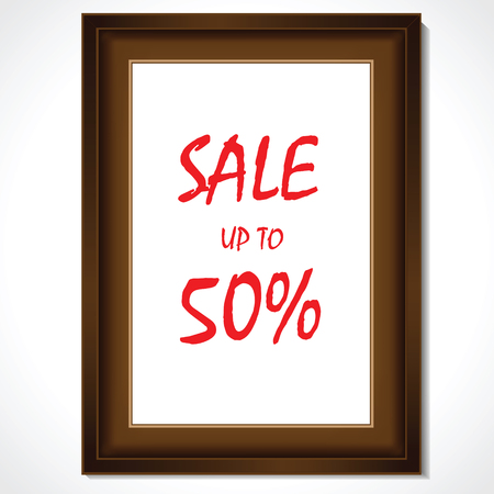 Wooden frame with sale up to 50% promo vector