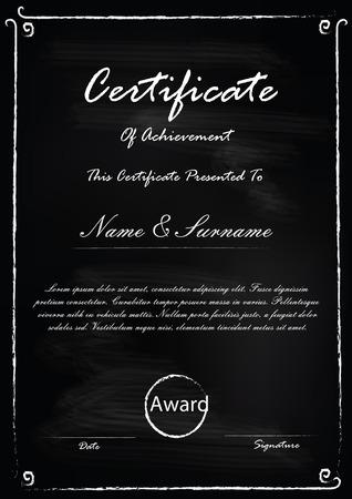 Certificate template in blackboard concept Ilustração
