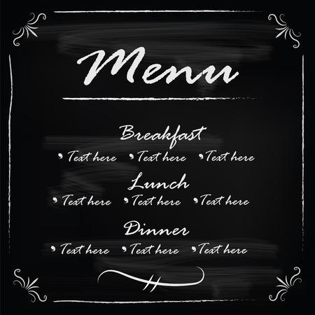 piatto: Vettore del menu di modello del telaio della lavagna Vettoriali