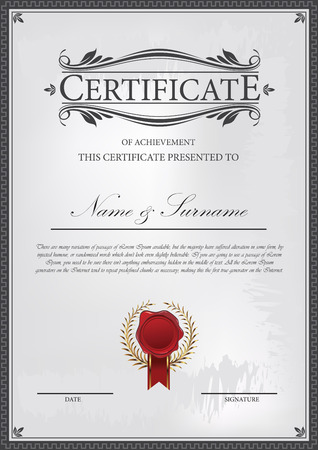Certificate template with grunge background