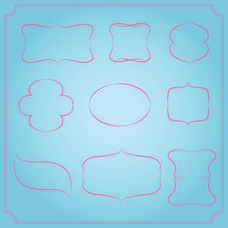 Romantic frames set with soft color vector Ilustração