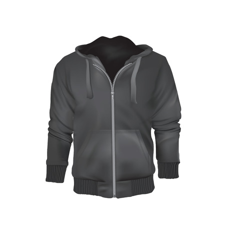 Jacket hoodie with zipper template vector