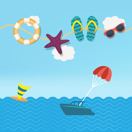 Tropical background flat vector Ilustração