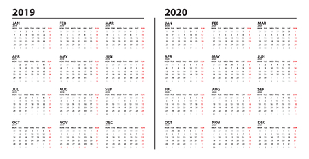 Calendar template for 2019 and 2020 year